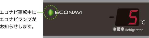エコナビ運転中にエコナビランプがお知らせします。エコナビにより約9%省エネ