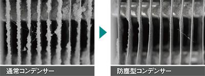 写真左:通常コンデンサー/写真右:防塵型コンデンサー