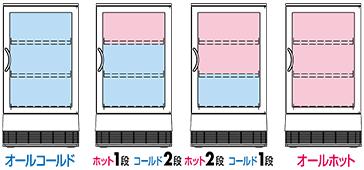 オールコールド/ホット1段コールド2段/ホット2段コールド1段/オールホット